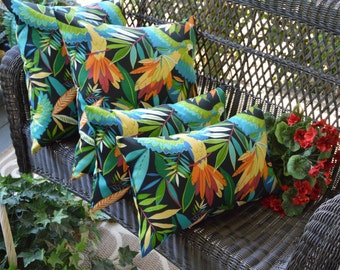 Set of 4 Tropical Bird Black Blue Green Red Square, Rectangle Outdoor Pillows