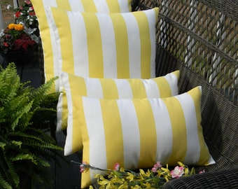 "SET OF 4  -  Indoor / Outdoor Yellow and White Stripe Decorative 20"" Square & Lumbar / Rectangle Pillows"