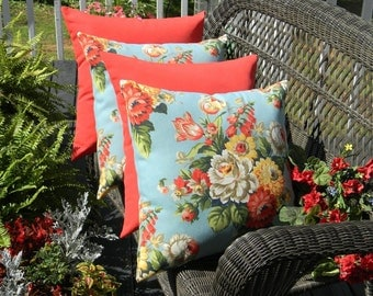"SET OF 4 Pillow Covers -  20"" Indoor / Outdoor Pillow Covers - 2 Blue, Red, Yellow Floral & 2 Solid Red"