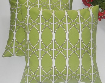 "Set of 2 Pillow Covers - 17"" Indoor / Outdoor Contemporary Geometric Circle Pattern-  Green, Brown, & White Decorative Pillow Covers"