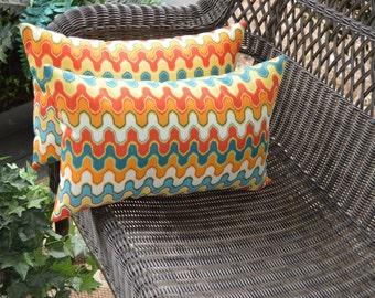 Set of 2 ~ Geometric Flame Stitch Red Orange Teal Yellow Rectangle / Lumbar Indoor / Outdoor Pillows
