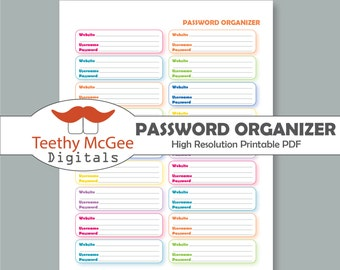 Password organizer | Etsy