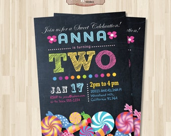 Candy Shop Birthday Invitation Chalkboard. Lollipop. DIY card. Digital Printable card