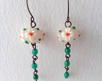 Copper earrings, copper beaded earrings, green earrings, flower earrings, copper drop earrings, copper flower earrings, boho