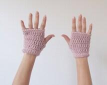Crochet Short Fingerless Gloves - The Shorties - in Blush Heather