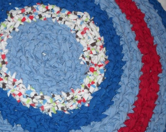 """Red, White and Blue with Hints of Green and Black 21"""" Round Rag Rug."""