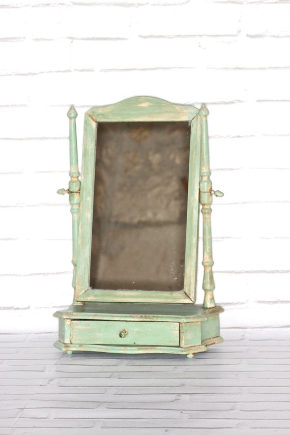 light green vintage table top vanity mirror by lepasserecompose. Black Bedroom Furniture Sets. Home Design Ideas