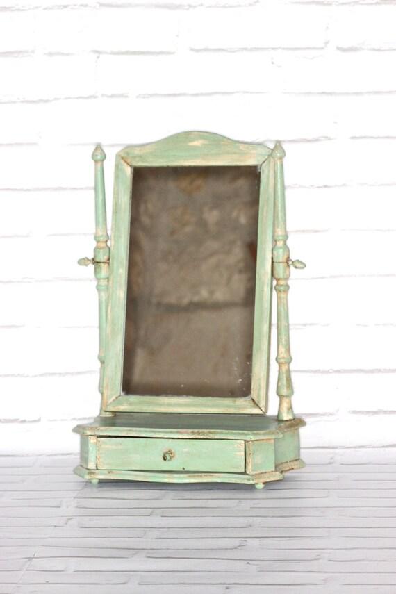 Light Green Vintage Table Top Vanity Mirror By