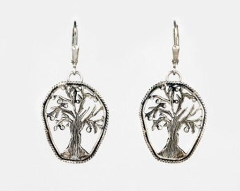 hand crafted tree of life earring made from sterling silver