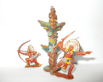 Red Indian Plastic Figures