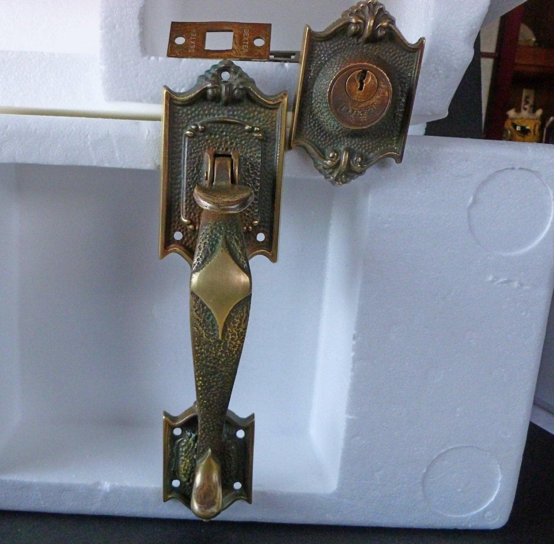 Vintage dexter brass entry door lock thumb latch pull set for Entry door parts