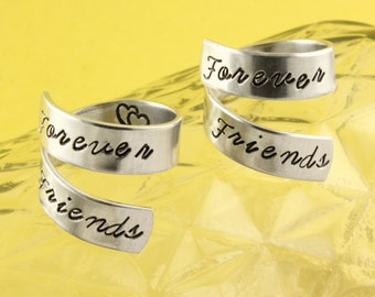 SALE - Forever Friends Ring Set - Best Friends - Adjustable Twist Wrap Aluminum Rings - Handstamped Rings