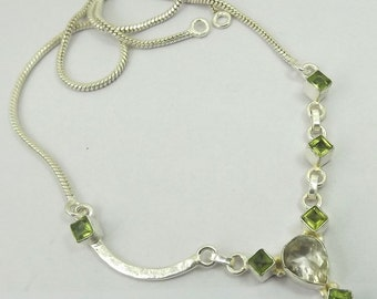 Peridot, Citrine Necklace Plated with 925 Sterling Silver Jewelry Handmade Exclusive Designer