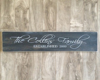 Custom Family Name Sign - Personalized with date