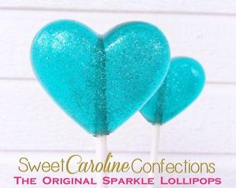 Aqua Heart Favors, Wedding Lollipops, Party Favors, Lollipops, Candy Lollipops, Sparkle Lollipops, Sweet Caroline Confections-Set of Six