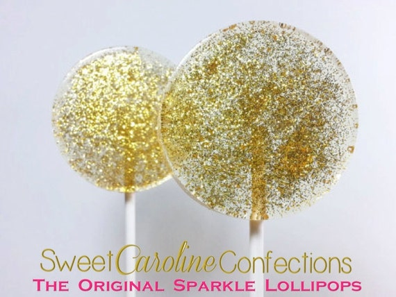 Gold Wedding Favors, Christmas Lollipops, Sparkle Lollipops, Gold Candy, Gold Lollipops, Gold Favors, Sweet Caroline Confections-Set of Six