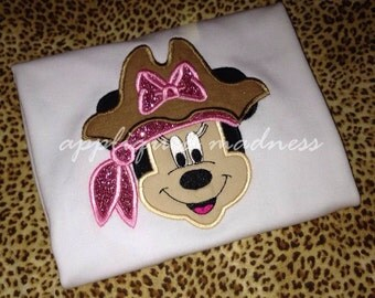 Appliquéd madness custom appliquéd pirate Minnie shirt for girls
