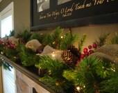 Christmas Garland, Christmas Decorations, Mantle Garland, Staircase Garland, Pine Garland, Burlap Garland, Christmas Mantle
