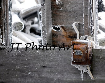 Rusted electrical box in an abandoned farm structure, 8x12 fine art print