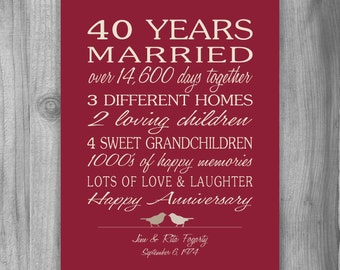 Special Gift For 40th Wedding Anniversary : 5th Anniversary Gift Print 5 Years 10 15 20 by PrintsbyChristine