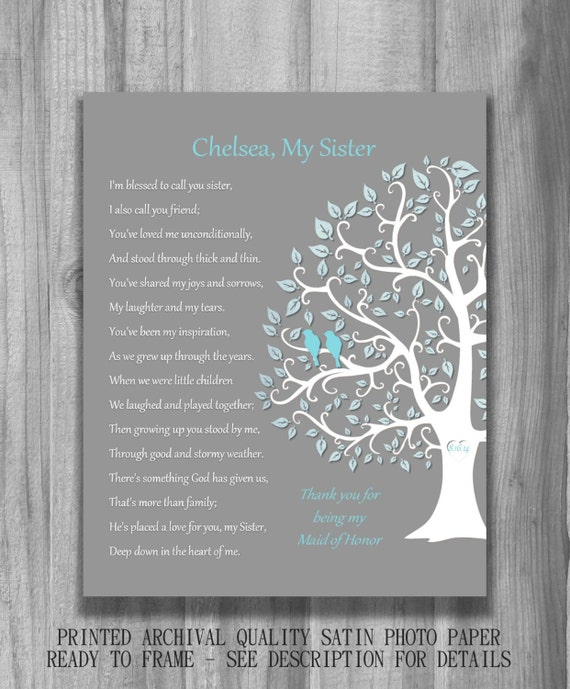 SISTER GIFT Bridesmaid Maid of Honor Personalized Art Print Thank you ...