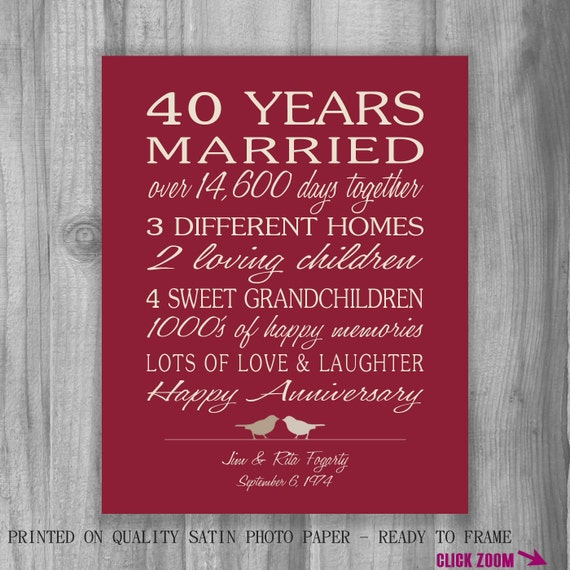 Wedding Gift For 40 Year Old Couple : ... Wedding Print - Anniversary Print - 40 years Wedding Anniversary Gift