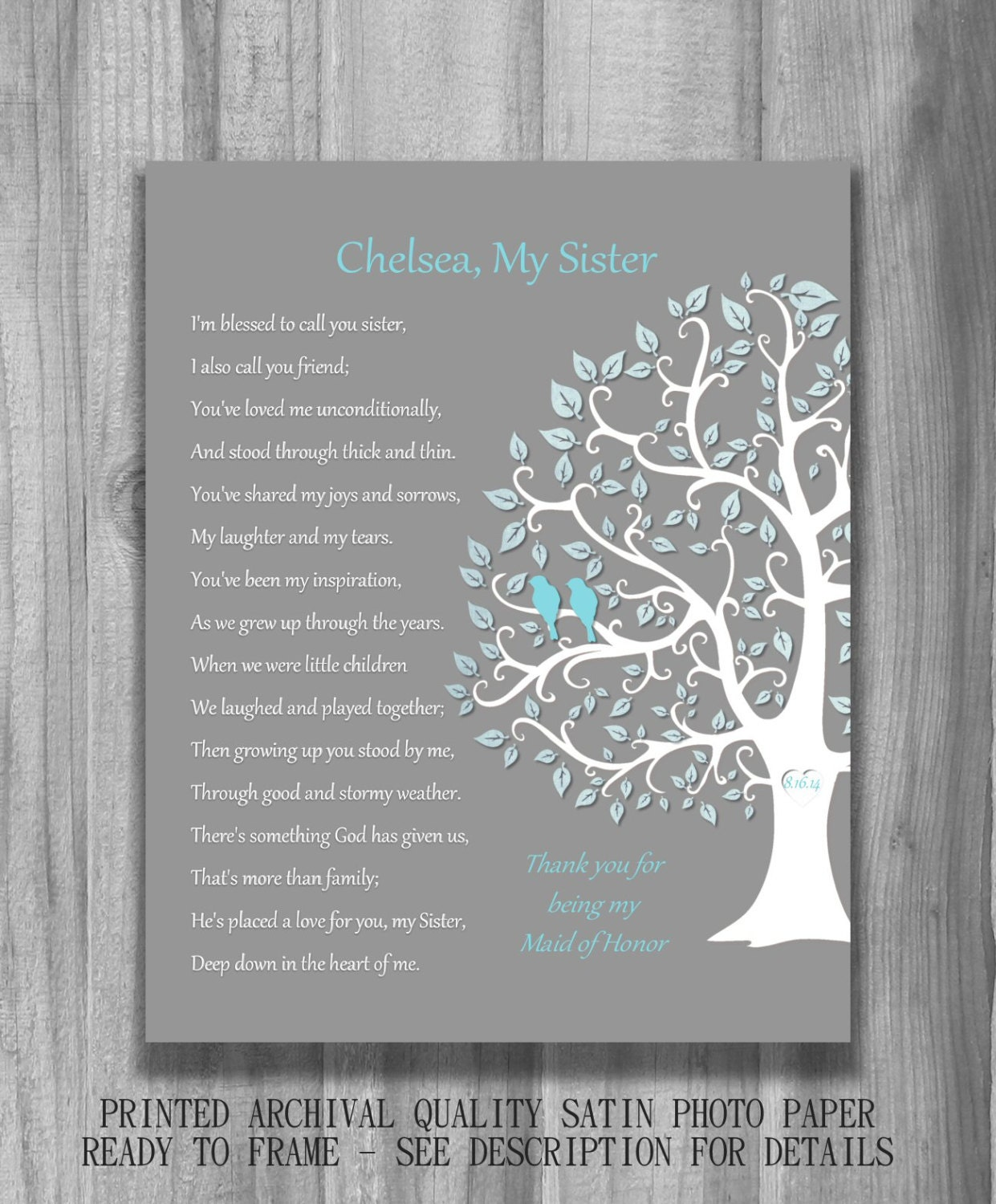 Wedding Thank You Gift For Sister : SISTER GIFT Bridesmaid Maid of Honor Personalized Art Print