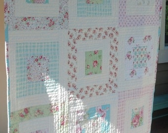 Shabby Chic Quilt, MADE TO ORDER Tanya Whelan Shabby Chic Quilt, Tanya Whelan Fabrics Throw, Lap Quilt, Floral Quilt, Vintage Floral Quilt