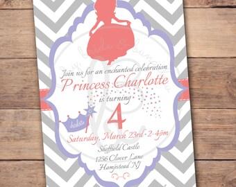 Sofia the First/ Princess Silhouette birthday invitation 5x7: Printable and Customizable