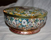 Vintage Round Metal TIN Canister Floral Container Gold with Flowers
