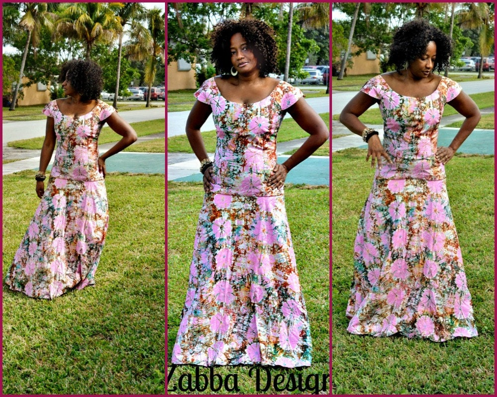 Robe africaine tie dye rose avec brown africaine maxi dress for Robes de mariage maxi uk