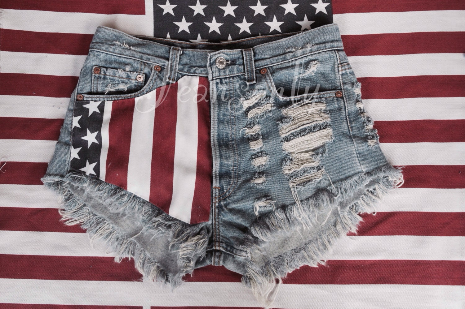 Red White And Blue Jean Shorts - The Else