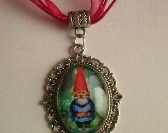 gnome gnomes elf fairy organza cord necklace charm