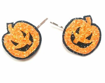 20% off everything with the code XMAS20 Glittered Pumpkin Bobby Pins Halloween Hair Clip Jack O Lantern