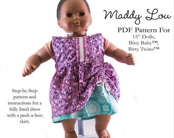 Pixie Faire Aha Customs Maddy Lou Dress Doll Clothes Pattern for 15 inch  Bitty Baby Dolls - PDF