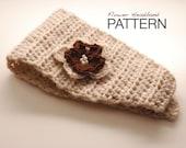Crochet PATTERN: Wide Headband with Flower - Winter Hair Wrap - Ear warmers - Instant Download