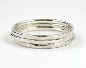 Stacking Ring Set Of Three, Sterling Silver Ring, Knuckle Ring, Hammered Ring, Simple Rings, Sterling Silver Jewellery 925
