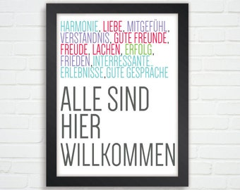 Typographic Poster in German ''All are Welcomed Here''