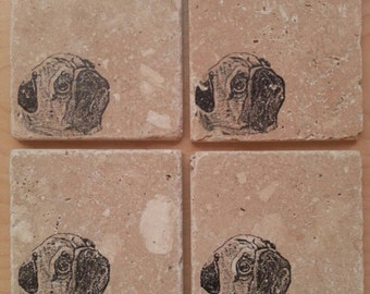 Natural Tumbled Marble Stone Pug Coasters