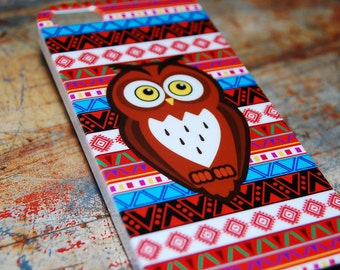 Aztec Tribal Indian Owl Print Case For iPhone 6 / (4.7) / 4.7) / 5c / 5s / 5 / 4s / 4 Hard Plastic Rigid Owls Cover Printed In USA c12