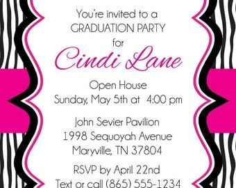 Zebra Graduation Party Invitations - Printable Graduation Announcement - High School and College