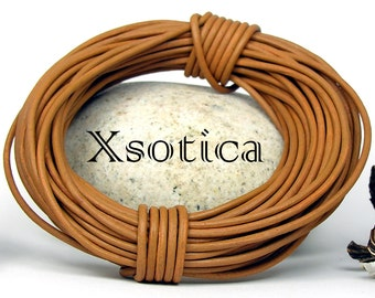 Natural Dye Mustard Round Leather Cord 2mm 25 meters (27.34 yards) Lead Free