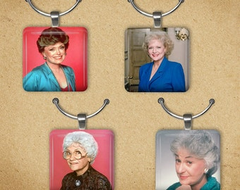 The Golden Girls Set Of 4 Wine Charms, Best Friends Tile Charms, 80's TV Pendants
