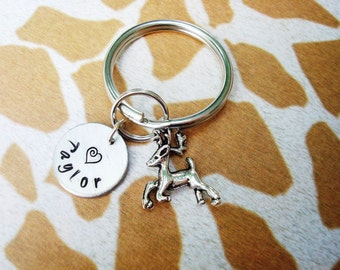 LITTLE DEER KEYCHAIN - name charm shown is optional (see price in drop down box) - deer keyring, zipper pull, purse charm backpack charm