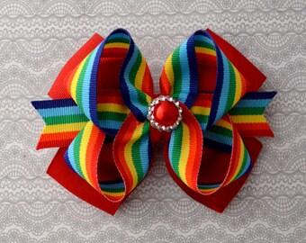 Rainbow Hair Bow, Rainbow Headband, Rainbow Bow, School Hair Bow, School Bow, Back to School Bow, Rainbow Birthday Hair Bow, Red Hair Bow