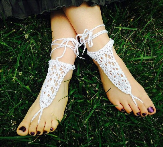 White Lace Sandals White Lace Beach Sandals