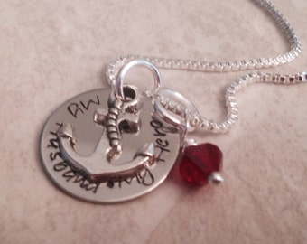 SALE Hand stamped necklace army navy my husband daddy boyfriend son my hero with anchor charm