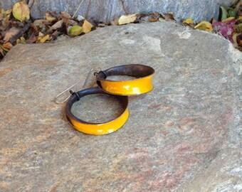 Yellow enamel hoop earrings, copper and mustard yellow enamel, hammered copper hoops, enamel hoop earrings, rustic hoop earrings