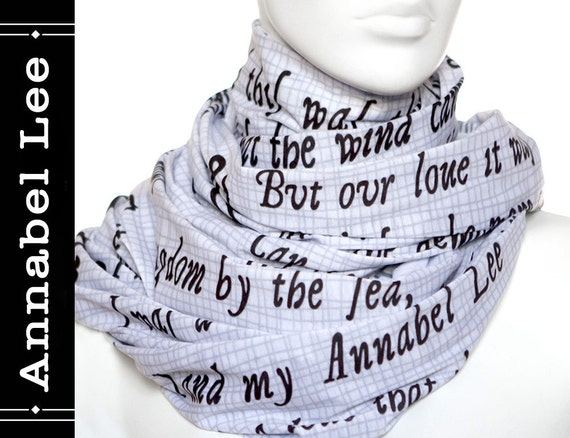Annabel Lee poem on the scarf - Infinity scarf - Ivory -Text Scarf ...