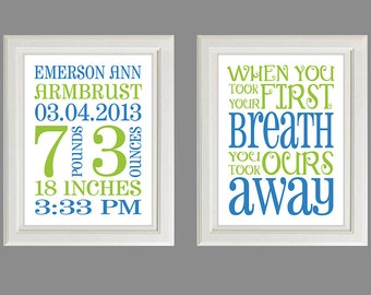 Nursery Art - Personalized Nursery Art - Baby Boy Or Girl - Personalized Birth Stats Print - Set of Two  Prints